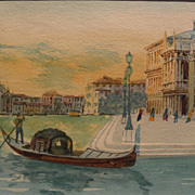 Italian watercolor painting of Venice signed G. Romanello