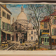 ALOIS LECOQUE (1891-1981) pencil signed hand colored by artist lithograph print of Montmartre