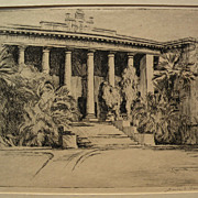 """JESSIE SHAW FISHER (1877-after 1942) scarce early Hawaiian art pencil signed etching """"Haw"""