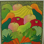 Haitian art colorful 1985 painting of tropical fruits signed B. Toussaint
