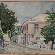 Bermuda art 1950 watercolor of street scene by American artist Jack B. Crowe