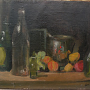Impressionist table top still life painting with fruits and objects