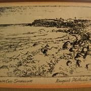 "MARGARET ELDER PHILBRICK (1914-1999) etching ""Cape Cod Shoreline"" by listed Massachu"