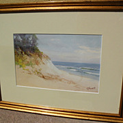 VICTOR CASENELLI (1867-1961) well listed American art watercolor of Lake Michigan shoreline du