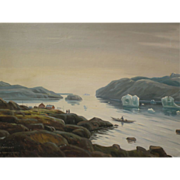 WILLY DANNERFJORD (1904-1961) atmospheric painting of Greenland by listed Danish artist
