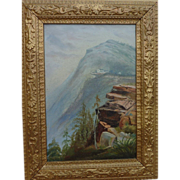 Antique Hudson River School painting of Catskill Mountain House