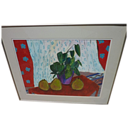 Contemporary colorful watercolor still life painting in Matisse style by San Diego watercolor