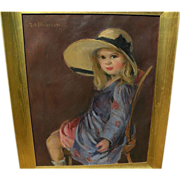 RUTH A. ANDERSON (1891-1957) appealing painting of young girl playing dress up