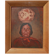 Southwestern art whimsical signed painting of Native American woman balancing pot on head