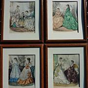SET OF 4 French Victorian fashion prints from La Mode Illustree circa 1875