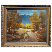 Western oil landscape painting mountains in late autumn