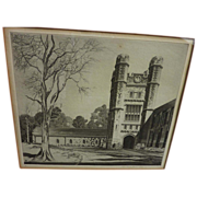 "JOHN TAYLOR ARMS (1887-1953) pencil signed etching ""Herbert Lowell Dillon Gymnasium, Prin"