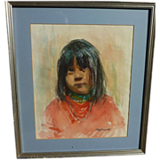 EUNICE LOUISE MARTCHENKO (1919-1985) watercolor painting of Native American girl by California