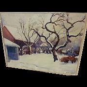 Watercolor American winter landscape in the snow signed S. Randolph