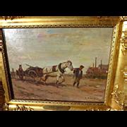 SOLD LORINC FARKAS-CSALLOKOZI (1898-1966) Hungarian art impressionist painting of man leading
