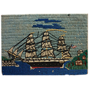 Folk art woolie needlework picture of clipper ship