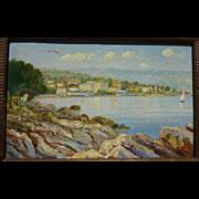Lovely old European impressionist coast painting