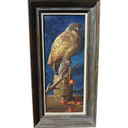EDMOND J. FITZGERALD (1912-1989) painting of owl by noted American listed artist