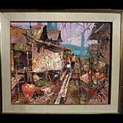 "SUJARIT HIRANKUL (1936-1982) large impressionist painting ""Fishing Village"" by major"