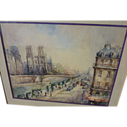 LUCIEN DELARUE (1925-) French impressionist watercolor painting of Notre Dame and the Seine in