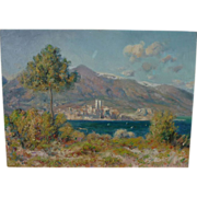 Impressionist contemporary painting of French Riviera landscape in style of Monet or Renoir