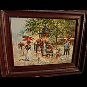 Contemporary impressionist oil painting of Paris scene circa 1900