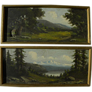 RICHARD DETREVILLE (1864-1929) pair landscape oil paintings by Northern California artist