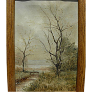 SALE PENDING Small late nineteenth century English landscape painting signed with initials