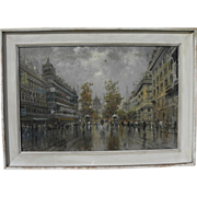 Large impressionist painting of Parisian street signed FERDELBA