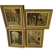 GIUSEPPE GARINEI (fl. 1880's) Italian art **FOUR** architectural and courtyard paintings by li