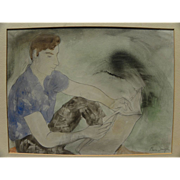 BURR SINGER (1912-1992) California watercolor painting by well listed California social realis