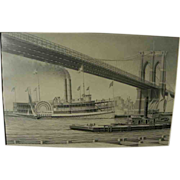 Marine art fine original pencil drawing of old time steamboat under Brooklyn Bridge by artist