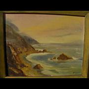 California plein air painting of dramatic coastline by artist Sue Hunter
