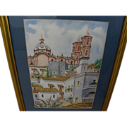 Vintage watercolor painting of Taxco church in Mexico signed dated 1966