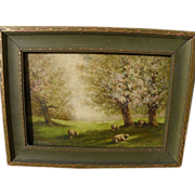 American circa 1900 signed landscape painting with sheep and trees in the spring