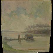 ROBERT BANKS FLINTOFT (1866-1946) small American impressionist coastal landscape possibly ...