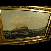 ALBERT HORATIO SLADE (1843-1922) early California art rare coastal painting in Hudson River st
