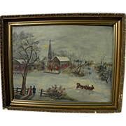 Folk art Americana primitive painting of a winter scene with horse drawn sleigh‏
