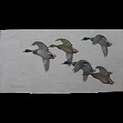 Impressive sporting art painting of ducks in flight signed de Marcillac