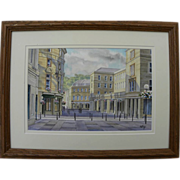 Contemporary signed English watercolor painting of downtown Bath, England