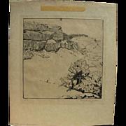 CHARLES BUTLER KEELER (1882-1964) pencil signed etching of Spanish landscape by listed Califor
