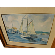 Vintage impressionist watercolor of sailboat in harbor