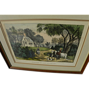 """Currier & Ives American 19th century original lithograph print """"Summer in the Country"""