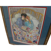 BARBARA A. WOOD (20th century California) pencil signed print of mother and daughter reading a