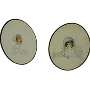 Late nineteenth century oval watercolor paintings of young women in bonnets framed creatively