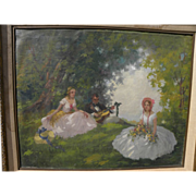 Poetic signed old impressionist oil painting of a man and two young women relaxing in forest g