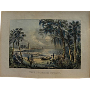 """PAIR Currier and Ives original lithograph prints including scarce """"The Florida Coast"""""""