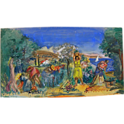 HENRI HAYDEN (1883-1970) colorful gouache and watercolor drawing of figures in the Mediterrane