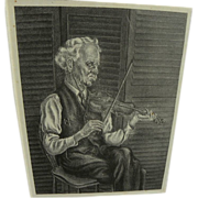 American art Bentonesque black and white lithograph of a fiddler in a chair