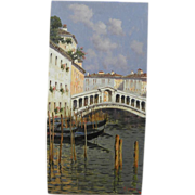 ANTONIO SANNINO (1956-) Italian art oil painting of Rialto Bridge in Venice Italy